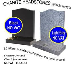 Black headstone £569.00, Light grey headstone £560.00