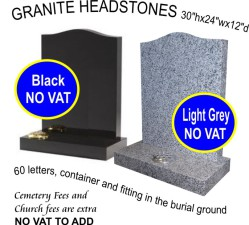 Black headstone £569.00, Light grey headstone £560.00
