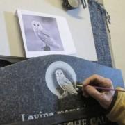 sandblast design of an owl